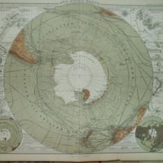 Harta Cercul polar de Sud Gotha Justus Perthes 1866 de E. Debes