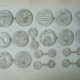 Gravura circa 1820 monede Romania Transilvania
