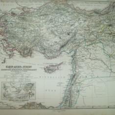 Harta Asia Mica si Siria Armenia Kurdistan si Mesopotamia Gotha Justus Perthes 1868 de A. Petermann