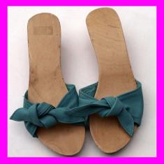 Sandale / Pantofi / Papuci - dama, Nr. 36, culoare khaki, de vara, talpa lemn