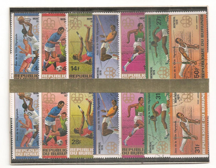 TSS74 BURUNDI, JOCURILE OLIMPICE MONTREAL, 1976, SERIE COMPLETA, 14 VALORI, STAMPILAT, SPORT, OLIMPIADA; INALTIME, PRAJINA, FOTBAL, INELE, BASCHET, SA