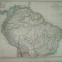 2 harti America de Sud Gotha Justus Perthes 1866 de F. Von Stulpnagel