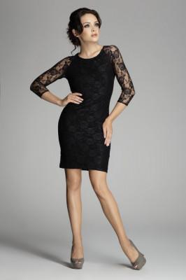 Rochie de seara neagra din dantela foto