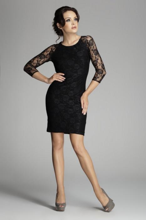 Rochie de seara neagra din dantela foto mare