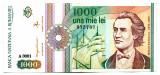 BANCNOTA 1000 1 000 LEI SEPTEMBRIE 1991CU ROZETA FARA PUNCT DUPA SERIE STARE  EXCELENTA