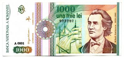 BANCNOTA 1000 1 000 LEI SEPTEMBRIE 1991CU ROZETA FARA PUNCT DUPA SERIE STARE  EXCELENTA foto