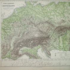 Harta Germania rauri si munti Gotha Justus Perthes 1867 de A. Stieler