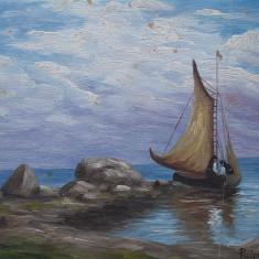 FRUMOASĂ PICTURĂ ÎN ULEI PE CARTON, BARCĂ CU PÂNZE LA ȚĂRM, SEMNATĂ PUICAN! - Pictor roman, Marine, Avangardism