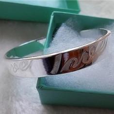 BRATARA fixa ARGINT marcat 925 inscriptionata LOVE reglabila NOUA+saculet cadou - Bratara argint pandora, Femei