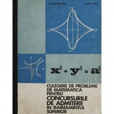 CULEGERE DE PROBLEME DE MATEMATICA PENTRU CONCURSURILE DE ADMITERE IN INVATAMINTUL SUPERIOR DE CONSTANTIN PERJU, ROMEO PERJU, EDITURA DIDACTICA 1970 - Carte Matematica