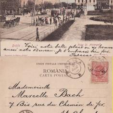 Braila- Piata Sf. Arhangheli - tramvai, animatie- timbru perfin