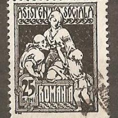TIMBRE 79, ROMANIA, 1921, ASISTENTA SOCIALA, 25 BANI, STAMPILAT, FARA GUMA; BATRAN, COPIL, ASISTENTA IN COSTUM POPULAR CU IE, MEDICINA, COPII - Timbre Romania, Medical