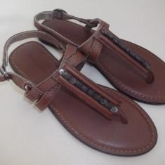 Sandale Massimo Dutti piele naturala/nou - Sandale copii, Marime: 31, Culoare: Maro, Fete