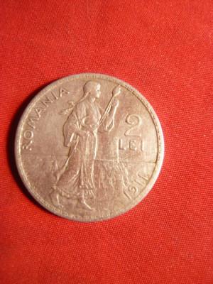 Moneda 2 Lei 1911 Carol I argint ,muchie rotunda ( f.rara) cal.F.Buna foto