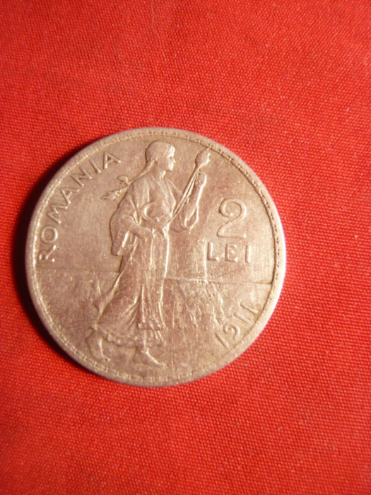 Moneda 2 Lei 1911 Carol I argint ,muchie rotunda ( f.rara) cal.F.Buna