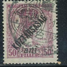 RFL 1919 ROMANIA Emisiunea Oradea eroare Zita Koztarsasag 50B uzata 8ani - Timbre Romania