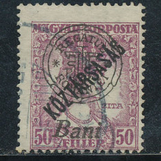 RFL 1919 ROMANIA Oradea eroare Zita Koztarsasag 50B stampilata tipar deplasat - Timbre Romania, Regi