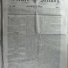 STAMPILA PREFILATELICA PENTRU ZIARE - WIEN 1842 - APLICATA PE