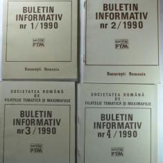 SOCIETATEA ROMANA DE FILATELIE TEMATICA SI MAXIMAFILIE - BULETIN INFORMATIV ANUL 1 NUMARUL 1, 2, 3, 4 ANUL1990