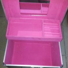 Geanta cosmetica Beauty Case din aluminiu, geanta de make-up neagra - Geanta cosmetice