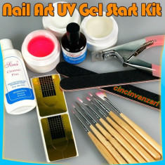 SET Unghii false Sina GEL UV MANICHIURA TOP COAT DEGRESANT 3 GELURI