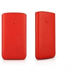 husa piele naturala rosie  Iphone 4G OS 4  folie cadou  4gs expeiere gartuita