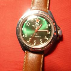Ceas Militar ( parasutisti) - Komandirski - cadran verde, calendar - Ceas barbatesc