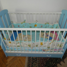 Patut bebe Bretco - Patut lemn pentru bebelusi, Altele, 120x60cm, Albastru