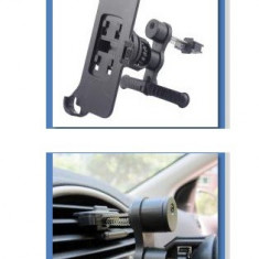 suport auto IPHONE 5 pt grila ventilatie + folie ecran + incarcator masina + cablu date  /5g/5s