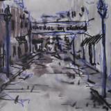 Peisaj Lipcsani desen tus pe hartie - Pictor roman, Peisaje, Cerneala, Altul