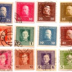 1915-1918 AUSTRO UNGARIA POSTA KUK Franz Josef Carol I 12 timbre, Militar, Stampilat