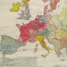 HARTA EUROPEI LA ANUL 800-EXECUTATA IN GERMANIA-PANZATA-1970X1600CM-