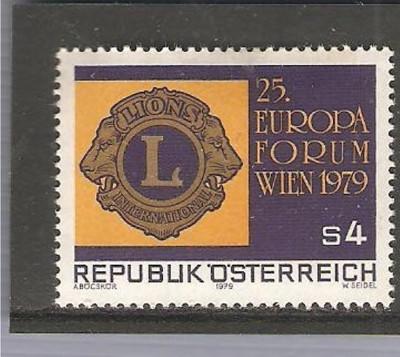 AUSTRIA 1979 - LIONS CLUB INTERNATIONAL, timbru nestampilat, B18 foto