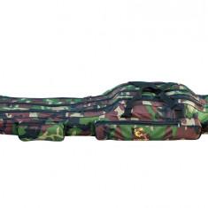 "Geanta (husa ) lansete 3 compartimente ""Old Camouflage"" BARACUDA 140cm B3 - Geanta pescuit"