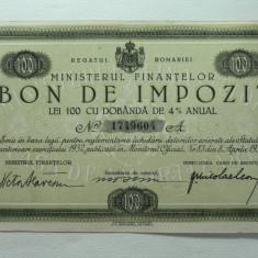 REGATUL ROMANIEI - MINISTERUL DE FINANTE - BON DE IMPOZIT LEI 100 DOB 4% ANUAL - SEMNATATA MINISTRUL DE FINANTE VICTOR SLAVESCU 1933 - NR 17496O4 A - Cambie si Cec