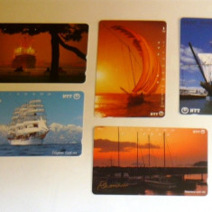 Set 5 cartele Japonia - VAPOARE, CORABII - 2+1 gratis toate licitatiile - RBK2273 - Cartela telefonica straina
