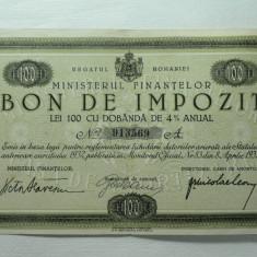 REGATUL ROMANIEI - MINISTERUL DE FINANTE - BON DE IMPOZIT LEI 100 CU DOB. 4% ANUAL - SEMNATA MINISTRU DE FINANTE VICTOR SLAVESCU 1933 - NR 913569 A - Cambie si Cec