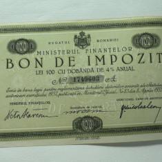 REGATUL ROMANIEI - MINISTERUL DE FINANTE - BON DE IMPOZIT LEI 100 CU DOB.4% ANUALA - SEMNAT MINISTRUL DE FINANTE VICTOR SLAVESCU 1933 - NR 1749603 A - Cambie si Cec