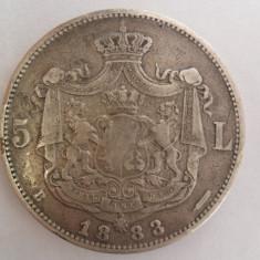 #39 Moneda argint 5 lei 1883 Regele Carol I Romania - Moneda Romania