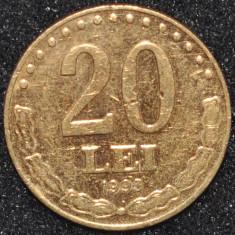 ROMANIA 20 LEI 1993 PLACATA CU AUR (IN REALITATE ARATA MULT MAI BINE)