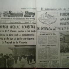 Ziarul romania libera 26 aprilie 1985 (vizita lui ceausescu in r.p. polona )