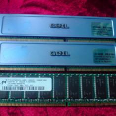 Memorie RAM Geil ddr 400 2x512 +1x512 cadou, 512 MB, 400 mhz, Dual channel