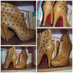 Botine cu tinte - Pantof dama Benvenuti, Culoare: Maro, Marime: 37, Albastru, Marime: 38