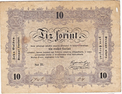 Transilvania,Ungaria,10 FORINT=10 FLORINI 1848,seria scrisa manual,legenda si in romana cu litere cirilice,semnatura lui Kossuth Lajos foto