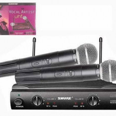 PROMOTIE ! THE VOCAL ARTIST UHF- SET 2 MICROFOANE WIRELESS PROFESIONALE SHURE SM 58+2 NUCA STATIV+RECEIVER+VALIZA. - Microfon Shure Incorporated