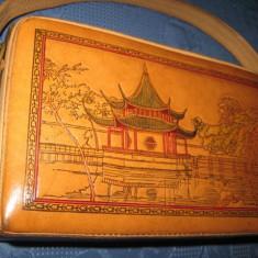 Poseta Vintage China din piele perioada 1960 - Geanta vintage