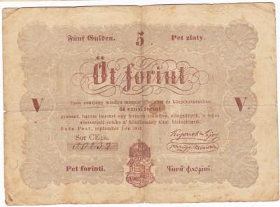 Transilvania,Ungaria,5 FORINT 1848,nuanta maro:Debrecen,seria scrisa manual,legeda si in romana cu litere cirilice,semnatura lui Kossuth foto