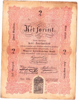 "Transilvania,Ungaria,2 FORINT ""DOI FLORINI"" 1848,seria scrisa manual,legeda si in romana cu litere cirilice,semnatura lui Kossuth,RARA!!! foto"
