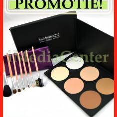 Trusa machiaj profesionala 6 nuante pudra MAC pigmentata + CADOU Set 7 pensule - Trusa make up Mac Cosmetics