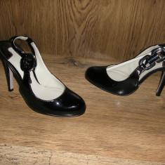 Pantofi eleganti dama TED BAKER London originali piele lacuita sz 35! - Pantof dama Ted Baker, Culoare: Negru, Marime: 35.5, Piele naturala, Cu toc